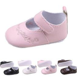 0-12M Toddler Baby Girl Crib Shoes PU Leather Soft Sole Prin