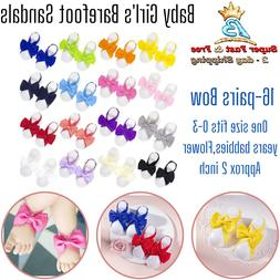 10 Pairs Baby Girl Kids Barefoot Sandals Flowers Shoes Headb