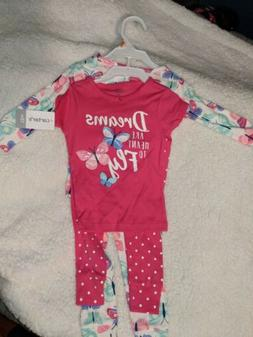 12 Month Baby Girls Carter Butterfly Pjs Pajamas 4 Piece Set
