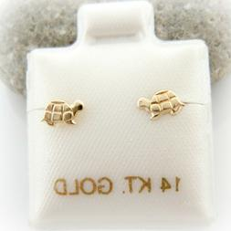 14K Solid Yellow Gold Cute Baby Turtle Screwback Baby Girl C