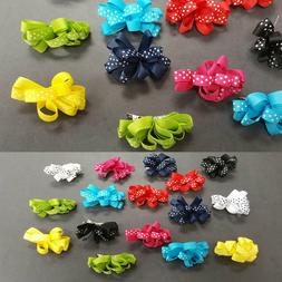16 pieces Baby Girl Kid Hair Clip Bow Dots Hairpin Alligator