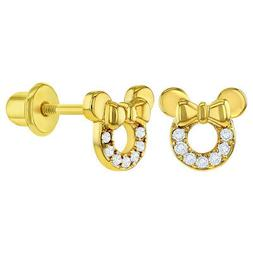 18k gold plated clear cz mouse bow