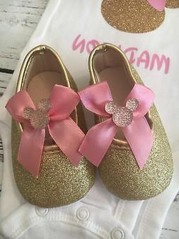1st birthday baby glitter shoes girl, Minnie Mouse shoes, ba