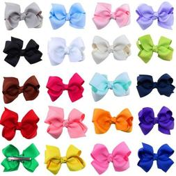 20/40pc LOT Baby Girls Big Hair Bows Alligator Hair Clips-Ba