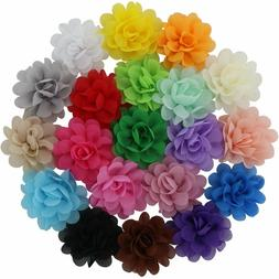 20 Colors Baby Girl Chiffon Flowers Lined Hair Bows Clips fo