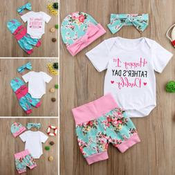 2019 Happy 1st FATHER'S DAY Infant Baby Girl 4Pcs Outfit Rom