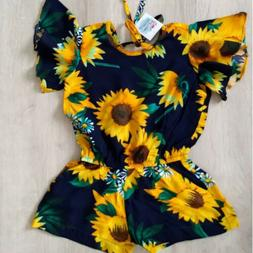 2019 Lovely Baby Girl Clothes Sunflower Romper Jumpsuit Play