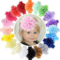 20pcs 4.5 Inch Chiffon Flower Bows Lace Headbands for Baby G