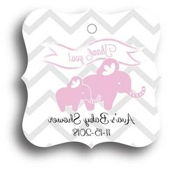 24 Pink Elephant Baby Girl Shower Favor Tag Personalized