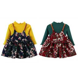 2PCS Baby Girl Long Sleeve Tops+Floral Dress Toddler Knitted