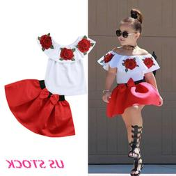 2pcs baby girl weet clothes summer Tee +skirt dress kids gir