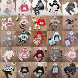 US 2PCS Newborn Baby Girl Boy Hooded Tops+Pants Tracksuit Ou