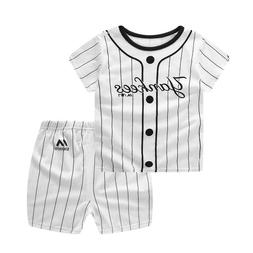 2PCS/Sets Baby Girl Boy Clothes YANKEES Letter Outfit Set Co