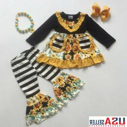 2PCS Toddler Baby Girl Winter Clothes Sunflower Tops Dress S