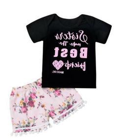 2pcs Toddler Baby Kids Girl Outfits Clothes Romper/T-shirt T
