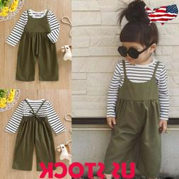 2PCS Toddler Kids Baby Girl Striped T-shirt Lace Up Jumpsuit