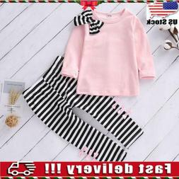 2Pcs Toddler Kids Baby Girls Clothes T Shirt Tops Striped Lo