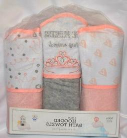 3 PACK BABY KISS HOODED BATH TOWELS BLANKETS 27''X30'' PINK