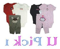 3 Pc Outfit Bodysuit Pants Little Layette Set Creeper Romper
