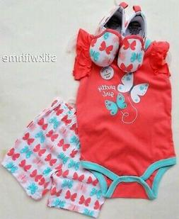 3 Piece SET: BODYSUIT, SHORTS & SHOES Outfit Baby Girls' Clo
