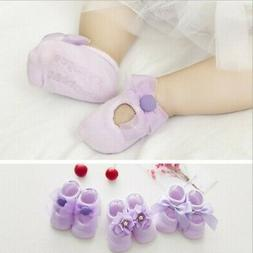 3Pairs/Pack Newborn Baby Girl Lace Bow Socks Shoes Toddler A