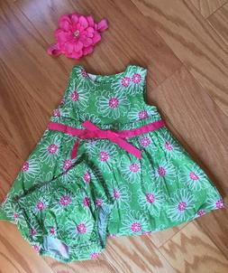 3pc Outfit Baby Girl 9 Month Green Floral Dress Bow Headband