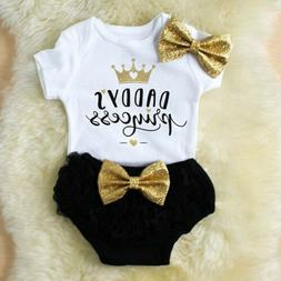 3pcs cute newborn baby girl outfits clothes