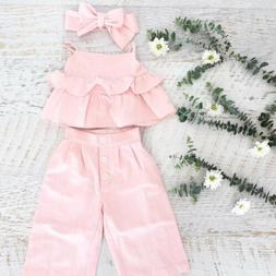 3PCS Kid Baby Girl Ruffle Crop Tops Pants Trousers Outfit Cl