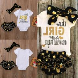 3PCS Newborn Baby Girl Outfits Clothes Romper Jumpsuit Bodys