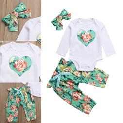 3PCS Newborn Baby Girl Romper Tops+Floral Pants+Headband Out