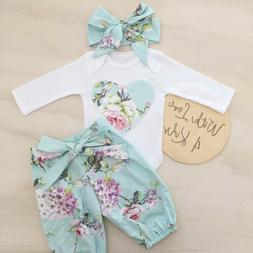 3pcs Newborn Kid Baby Girl Floral Clothes Jumpsuit Romper Bo