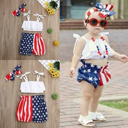 3pcs Newborn Toddler Baby Girl 4th of July Crop Tops+Pants +