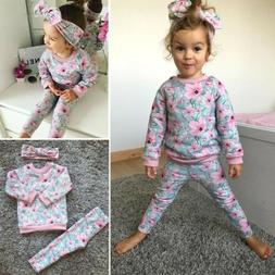 3pcs Newborn Toddler Baby Girl Flower Long Sleeve Tops+Pants