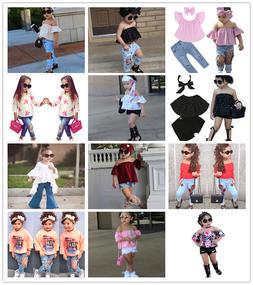3PCS Toddler Kids Baby Girls Clothes Tops+Jeans/Pants +Headb