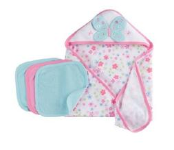 Gerber 4-Piece Baby Girl Terry Bath Set Blue/Pink Butterfly