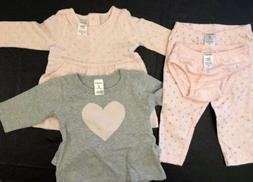 4-Piece Carter's Baby Playwear Set - Pink & Gray Heart Dots
