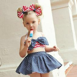 4th of July Toddler Baby Girl American Flag Top Skirt Newborn Clothes Outfit Set
