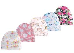 5 Pack Baby Beanies Girl Pink Infant Caps Bear Floral Hats N