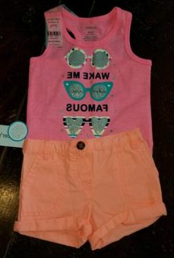 6 Months Carter's Baby Girl Outfit Sunglasses Shorts Wake Me