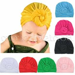 7pc Soft Cute Newborn Baby Girl Toddlers Hats Turban Knotted
