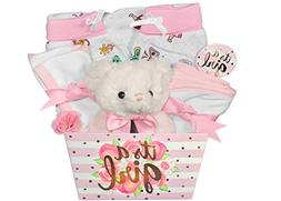 Baby Gift Basket for a Girl - 8 Piece Teddy Bear Baby Shower