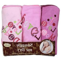 I Love Mommy and Daddy Hooded Bath Towel Set, 3 Pack, Girl,