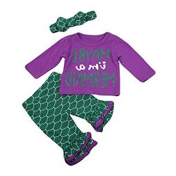 Newborn Baby Girl Maybe I'm a Mermaid Print Long Sleeve To