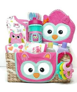 What A Hoot Owl Baby Girl Gift Basket with Hooded Bath Towel