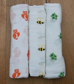 Aden Anais Baby Girl or Boy Swaddle Blanket ~ Turtles, Bees