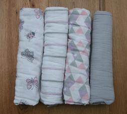 Aden Anais Baby Girl Swaddle Blanket ~ Lucky ~ White, Pink &