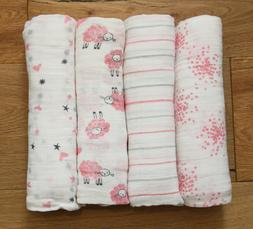 Aden Anais Baby Girl Swaddle Blanket ~ White, Pink & Gray ~
