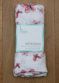 aden anais Baby Girl Swaddle Blanket~ White & Pink ~ Butterf