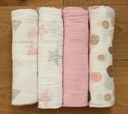 Aden Anais Baby Girl Swaddle Blanket ~ White, Beige & Pink ~