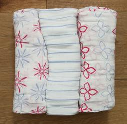Aden Anais Bamboo Baby Girl Swaddle Blanket ~ White, Pink &